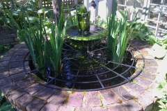 Water feature goldfish and plant pond and safety grille